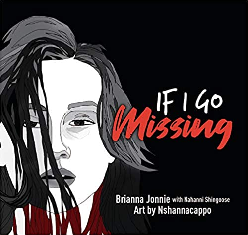 """Book Cover of woman's face in black and white with the title """"If I Go Missing"""". Missing is written in a script font in red."""